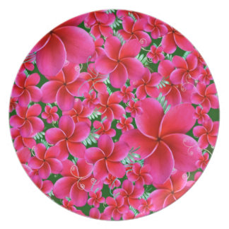 Pink and Intense Flowers, Wife Birthday Melamine Plate