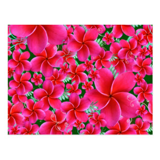 Pink and Intense Flowers, Wife Birthday Postcard