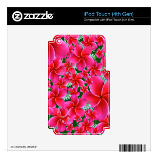Pink and Intense Flowers, Wife Birthday Skin For iPod Touch 4G