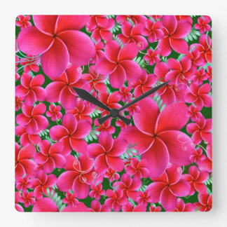 Pink and Intense Flowers, Wife Birthday Square Wall Clock