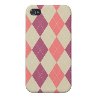 Pink and Ivory Argyle Case For iPhone 4