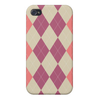 Pink and Ivory Argyle Covers For iPhone 4