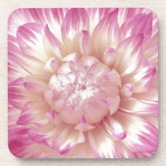 Pink and Ivory Dahlia Custom Gift Item Drink Coaster