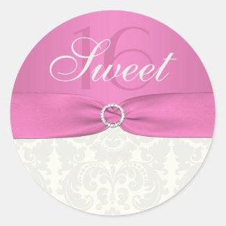 Pink and Ivory Damask Sweet Sixteen Sticker