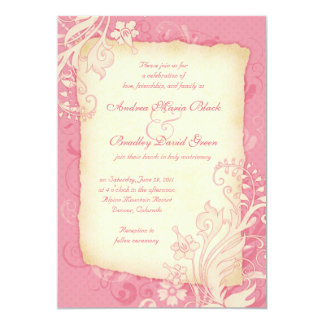 Pink and Ivory Floral Wedding Invitation