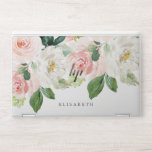 """Pink and ivory Watercolor Floral with Your Name HP Laptop Skin<br><div class=""""desc"""">A cascade of watercolor flowers like peonies and roses in feminine shades of white,  ivory and pink and green foliage adorn this stunning skin for your new laptop. Add your name using the template. Feminine and very trendy for a real girlboss!</div>"""