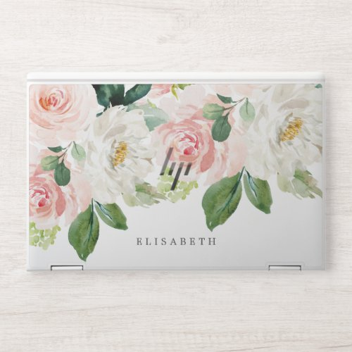 Pink and ivory Watercolor Floral with Your Name HP Laptop Skin