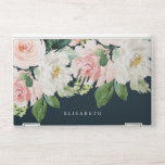 "Pink and ivory Watercolor Floral with Your Name HP Laptop Skin<br><div class=""desc"">A cascade of watercolor flowers like peonies and roses in feminine shades of white,  ivory and pink and green foliage adorn this stunning skin for your new laptop.