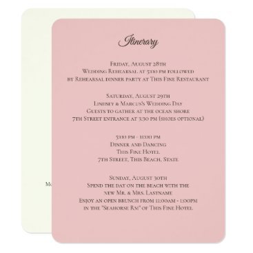 Beach Themed Pink and Ivory Wedding Information Card