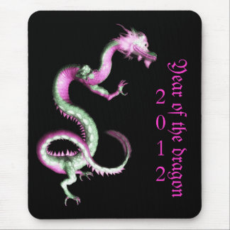 Pink and jade year of the dragon mousepad
