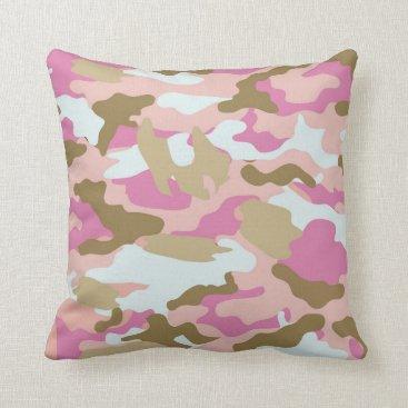 Pink And Khaki Throw Pillow