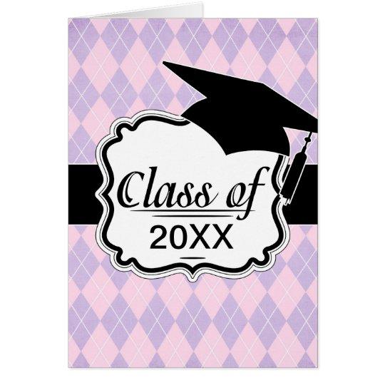 pink and lavender argyle pattern graduation grad card