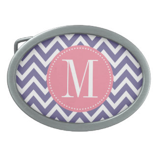 Pink and Lavender Chevron Custom Monogram Belt Buckle