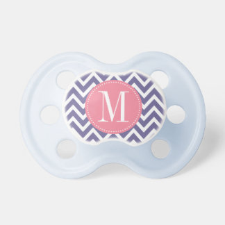 Pink and Lavender Chevron Custom Monogram Baby Pacifier