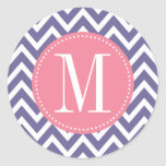 Pink and Lavender Chevron Custom Monogram Round Stickers