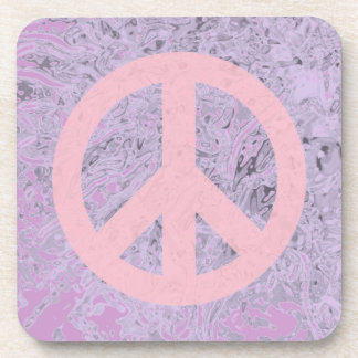 pink and lavender peace sign drink coaster