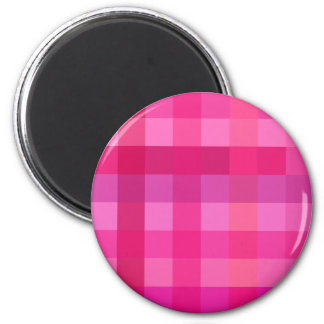 Pink and lavender plaid 2 inch round magnet