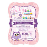 Pink and Lavender Purple; Owl Baby Shower 5x7 Paper Invitation Card