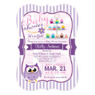 Pink and Lavender Purple Owl, Girl Baby Shower Card