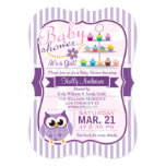 Pink and Lavender Purple Owl, Girl Baby Shower 5x7 Paper Invitation Card