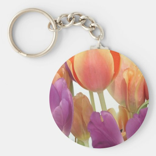 Pink and Lavender Tulips Basic Round Button Keychain