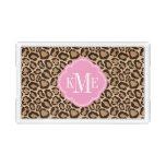 Pink and Leopard Print Custom Monogram Acrylic Tray