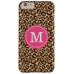 Pink and Leopard Print Custom Monogram Barely There iPhone 6 Plus Case