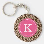 Pink and Leopard Print Custom Monogram Basic Round Button Keychain