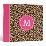 Pink and Leopard Print Custom Monogram Vinyl Binders