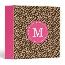 Pink and Leopard Print Custom Monogram Binder