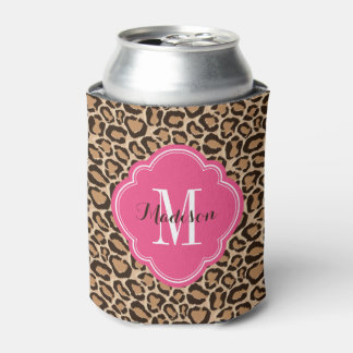 Pink and Leopard Print Custom Monogram Can Cooler