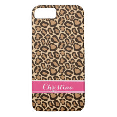 Pink And Leopard Print Custom Monogram Iphone 8/7 Case at Zazzle