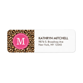 Pink and Leopard Print Custom Monogram Labels