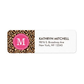 Pink and Leopard Print Custom Monogram Label