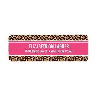 Pink and Leopard Print Custom Return Address Label