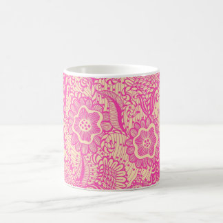 Pink And Light Beige Girly Abstract Floral Coffee Mug
