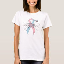 Pink and Light Blue Awareness Ribbon Butterfly T-Shirt