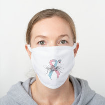 Pink and Light Blue Awareness Ribbon Butterfly White Cotton Face Mask