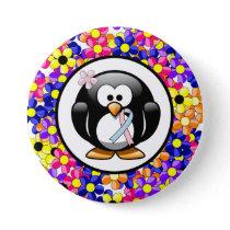 Pink and Light Blue Awareness Ribbon Penguin Pinback Button