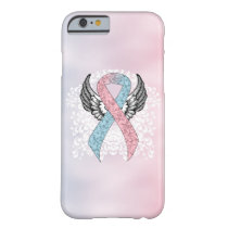 Pink and Light Blue Awareness Ribbon with Wings Barely There iPhone 6 Case