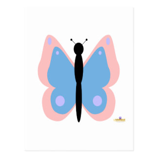 Pink And Light Blue Butterfly Postcard
