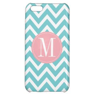 Pink and Light Blue Chevron Custom Monogram iPhone 5C Cover