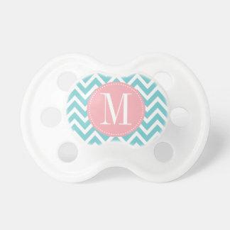 Pink and Light Blue Chevron Custom Monogram Baby Pacifier