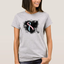 Pink and Light Blue Ribbon Awareness Grunge Heart T-Shirt