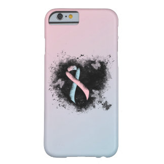 Pink and Light Blue Ribbon Grunge Heart Barely There iPhone 6 Case