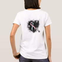 Pink and Light Blue Ribbon Grunge Heart T-Shirt
