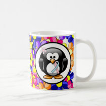 Pink and Light Blue Ribbon Penguin Coffee Mug