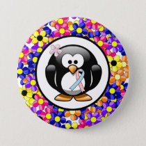 Pink and Light Blue Ribbon Penguin Pinback Button