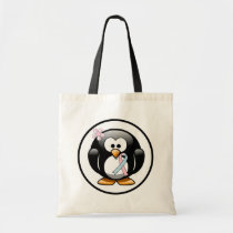 Pink and Light Blue Ribbon Penguin Tote Bag