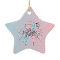 Pink and Light Blue Ribbon with Butterfly Ceramic Ornament
